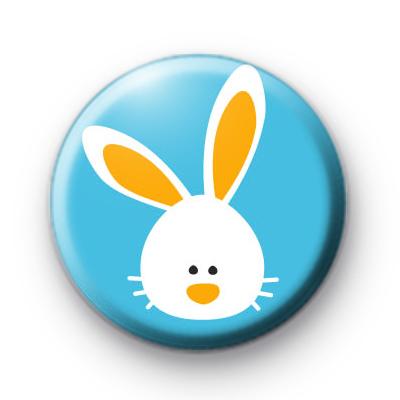 White Fluffy Easter Bunny Badge