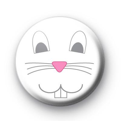 White Bunny Rabbit Face Button Badge