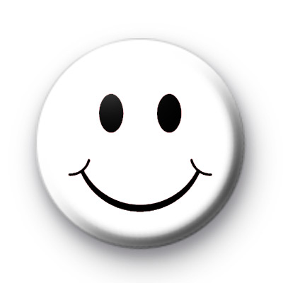 white smiley face button badge kool badges 25mm button