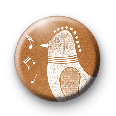 White Song Bird Button Badges