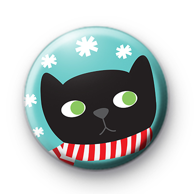 Festive Black Cat Badge