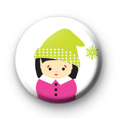 Winter Girl Button Badges