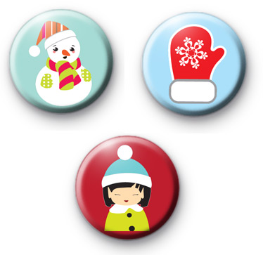 Winter Cutie Badge Set of 3