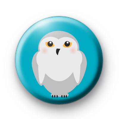 Winter Snowy Owl Button Badges