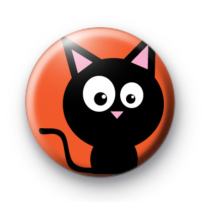 Witches Spooky Black Cat Badge