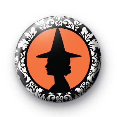 Black and Orange Witch Badge