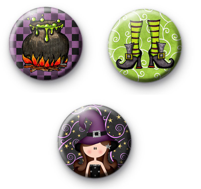 Set of 3 Spooky Witch Button Badges