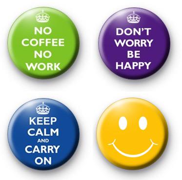 Set of 4 Slogan fun positive badges