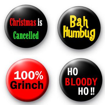 Set of 4 Christmas Grinch Badges