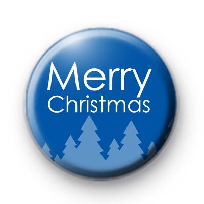 Merry Christmas Blue Xmas Trees Badge