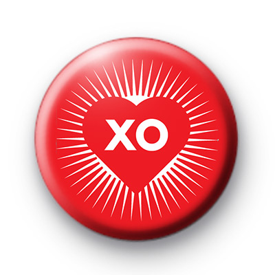 Red XO Kisses Button Badges