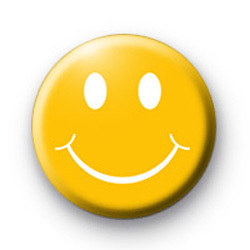 Yellow Happy Smiley Face badge