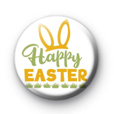Yellow Bunny Ears Happy Easter Badge