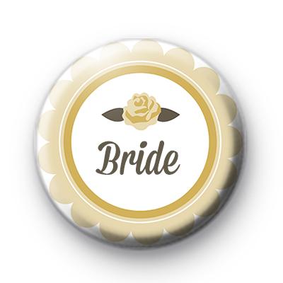 Yellow Rose Bride Button Badge