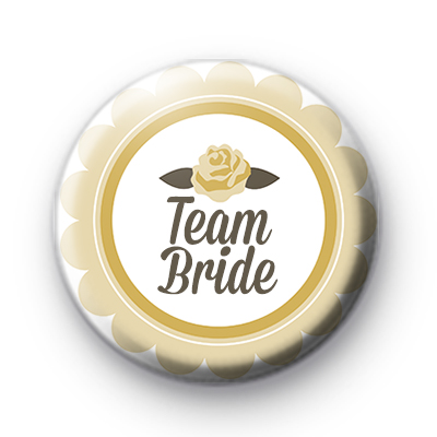 Yellow Rose Team Bride Button Badge