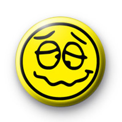 Yellow Drunk Face badge