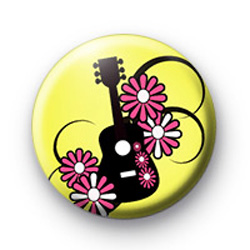 Yellow Surf Babe Guitar Badge