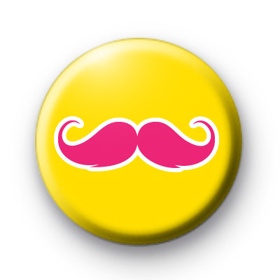 Yellow and Pink Moustache Movember badge