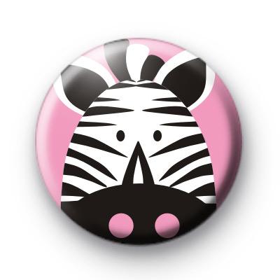 Pink Zebra Button Badge
