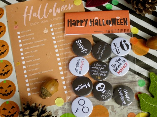 Spooky harry potter inspired badges