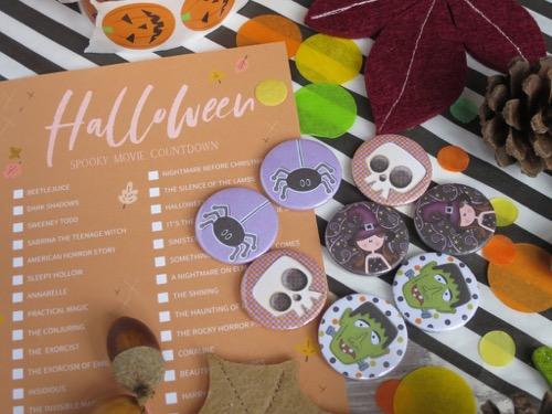 Spider, skull & frankenstein halloween badges