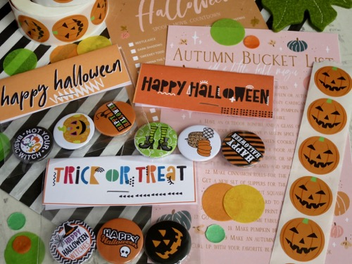 Trick or treat and happy halloween badges