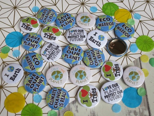 Eco warrior and climate change badges for enivronmental studies at school