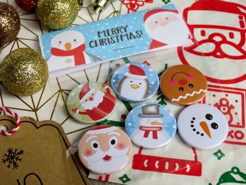 Santa and snowman christmas badges