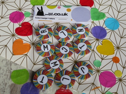 Multi Colour initial letter badges