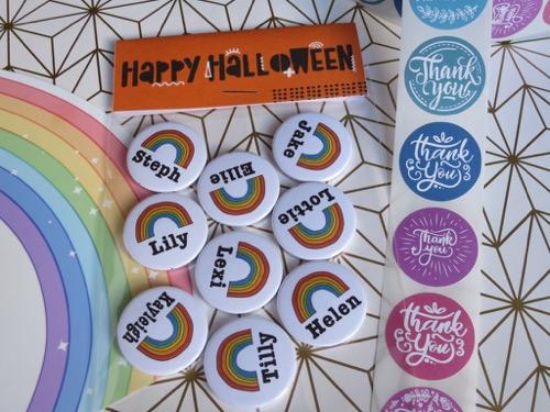 Personalised Rainbow name badges